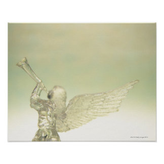 Glass angel playing trumpet rear view posters