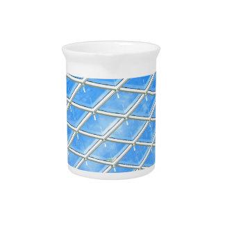 Glass background pitcher