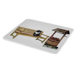Glass Chopping Board with cat design