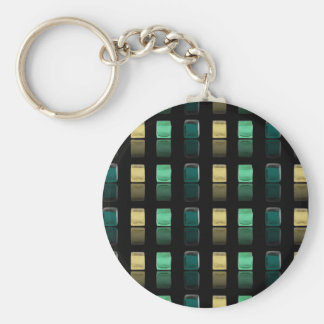 Glass Cubes Basic Round Button Key Ring