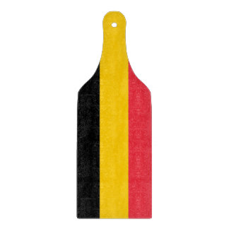 Glass cutting board paddle with flag of Belgium