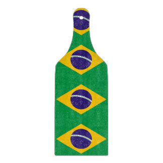 Glass cutting board paddle with flag of Brazil