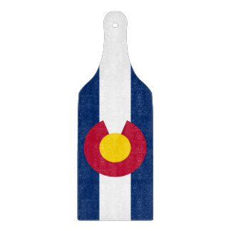 Glass cutting board paddle with flag of Colorado