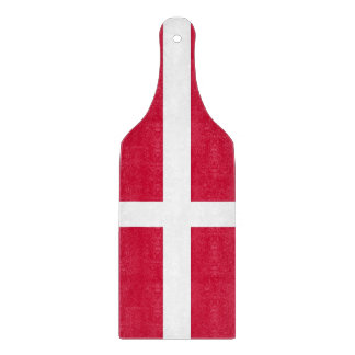 Glass cutting board paddle with flag of Denmark