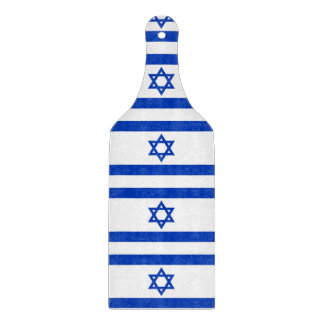 Glass cutting board paddle with flag of Israel