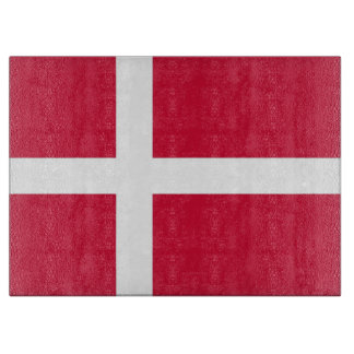 Glass cutting board with Flag of Denmark