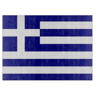 Glass cutting board with Flag of Greece