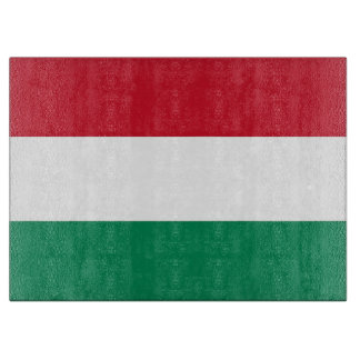Glass cutting board with Flag of Hungary