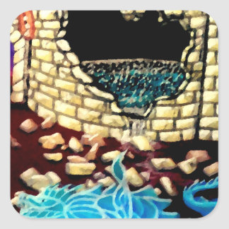 """Glass Dragon Hole in the Wall  CricketDiane Art Square Sticker"
