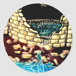 """Glass Dragon Hole in the Wall  CricketDiane Art Round Sticker"