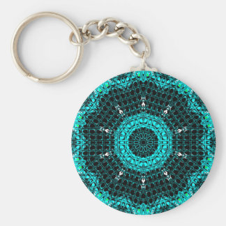 Glass Effect Mosaic Aquamarine Key Ring