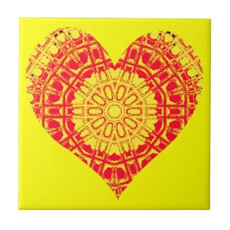 Glass Effect Mosaic Orange/Yellow (Heart) Tile