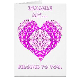 Glass Effect Mosaic Pink (Heart) Greeting Card