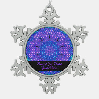 Glass Effect Mosaic Purple/Blue Snowflake Pewter Christmas Ornament