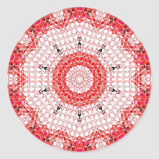 Glass Effect Mosaic Red/White Classic Round Sticker