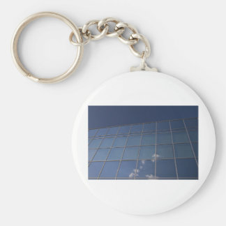 glass facade - corporate building basic round button key ring