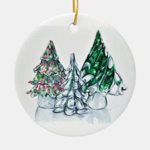 Transparent Round Ceramic Christmas Tree Decorations Ornaments