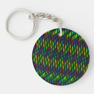 Glass Gem Green Blue Mosaic Abstract Artwork Single-Sided Round Acrylic Key Ring