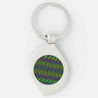 Glass Gem Green Blue Mosaic Abstract Artwork Silver-Colored Swirl Key Ring