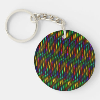 Glass Gem Green Red Mosaic Abstract Artwork Double-Sided Round Acrylic Key Ring