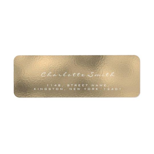 Glass Gold Faux Sepia White Return Address Labels