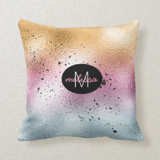 Glass Gradient and Splatter Monogram Pink ID444 Cushion