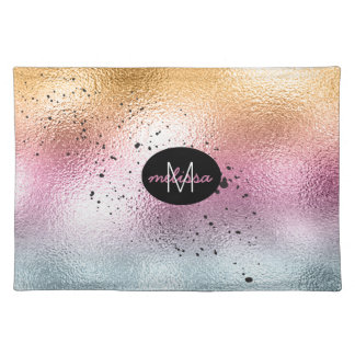 Glass Gradient and Splatter Monogram Pink ID444 Placemat