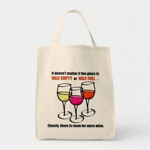Glass Half Empty Wine Humour Tote Bag