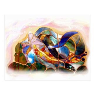 Glass Koi Fish Japanese Art Design Postcard