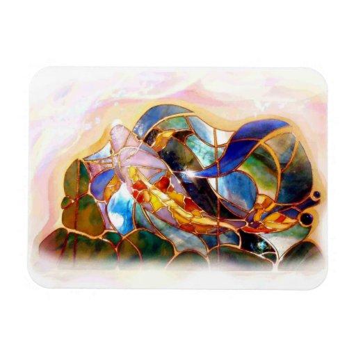 Glass Koi Fish Japanese Art Flexible Mabnet Rectangle Magnet