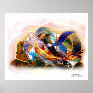 Glass Koi Fish Japanese Art Poster