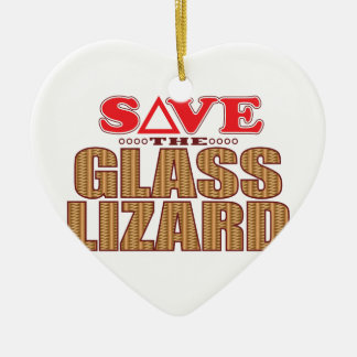 Glass Lizard Save Ceramic Heart Decoration