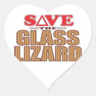 Glass Lizard Save Heart Sticker