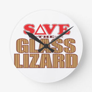 Glass Lizard Save Round Clock