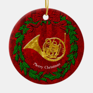 Glass Look Gold French Horn Personalize Christmas Ornament