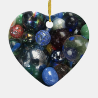 Glass Marbles Ceramic Heart Decoration