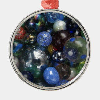Glass Marbles Silver-Colored Round Decoration