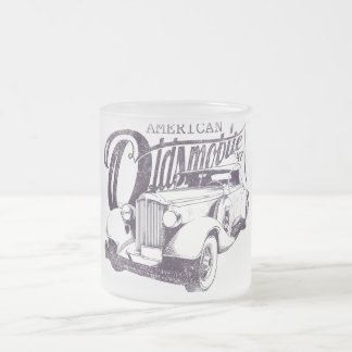 "Glass mug ""American Olds furnishes """