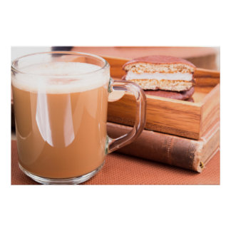 Glass mug with hot chocolate and biscuits poster