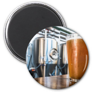 Glass of Beer at Microbrewery 6 Cm Round Magnet