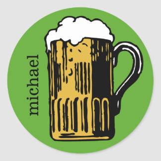 Glass of Beer custom name & color stickers