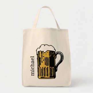 Glass of Beer custom name tote bags