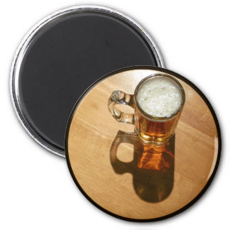 Glass of Beer on Table 6 Cm Round Magnet