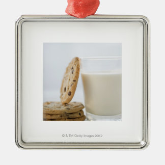 Glass of milk and cookies, close-up christmas ornament