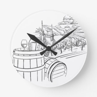Glass of OF Wine on barrel in front OF German Clock