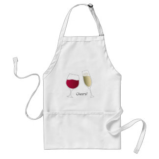 Glass of red wine and champagne cheers standard apron