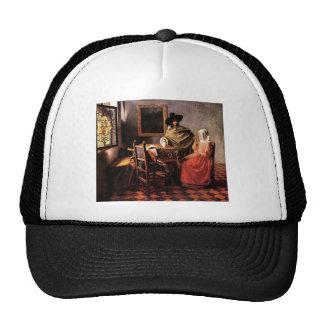 Glass of wine by Johannes Vermeer Hats