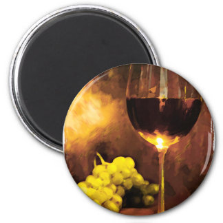 Glass of Wine & Green Grapes in Candlelight 6 Cm Round Magnet