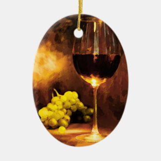 Glass of Wine & Green Grapes in Candlelight Christmas Ornament