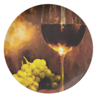 Glass of Wine & Green Grapes in Candlelight Plate